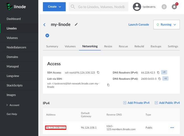 Find your Linode server's IP address